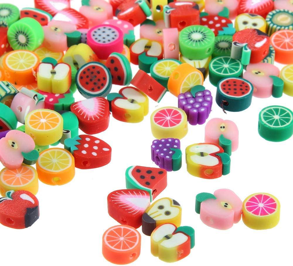 Lot 50 perles fruit pate fimo polymere 10 x 10 pomme raisin citron mixte