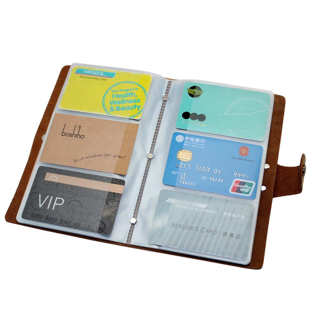Boshiho Leather Credit Card Holder Business ID Card Case Book Style ...