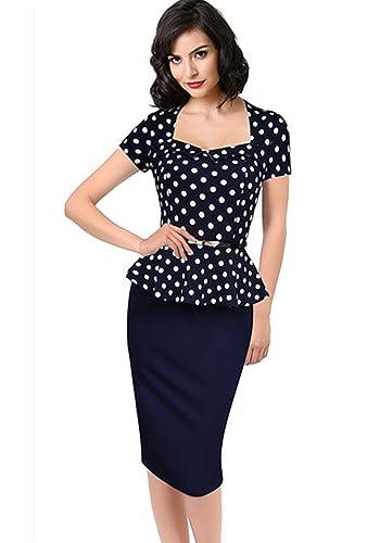Yomoko Womens Elegant Vintage Peplum Wear To Work Business Pencil Dress