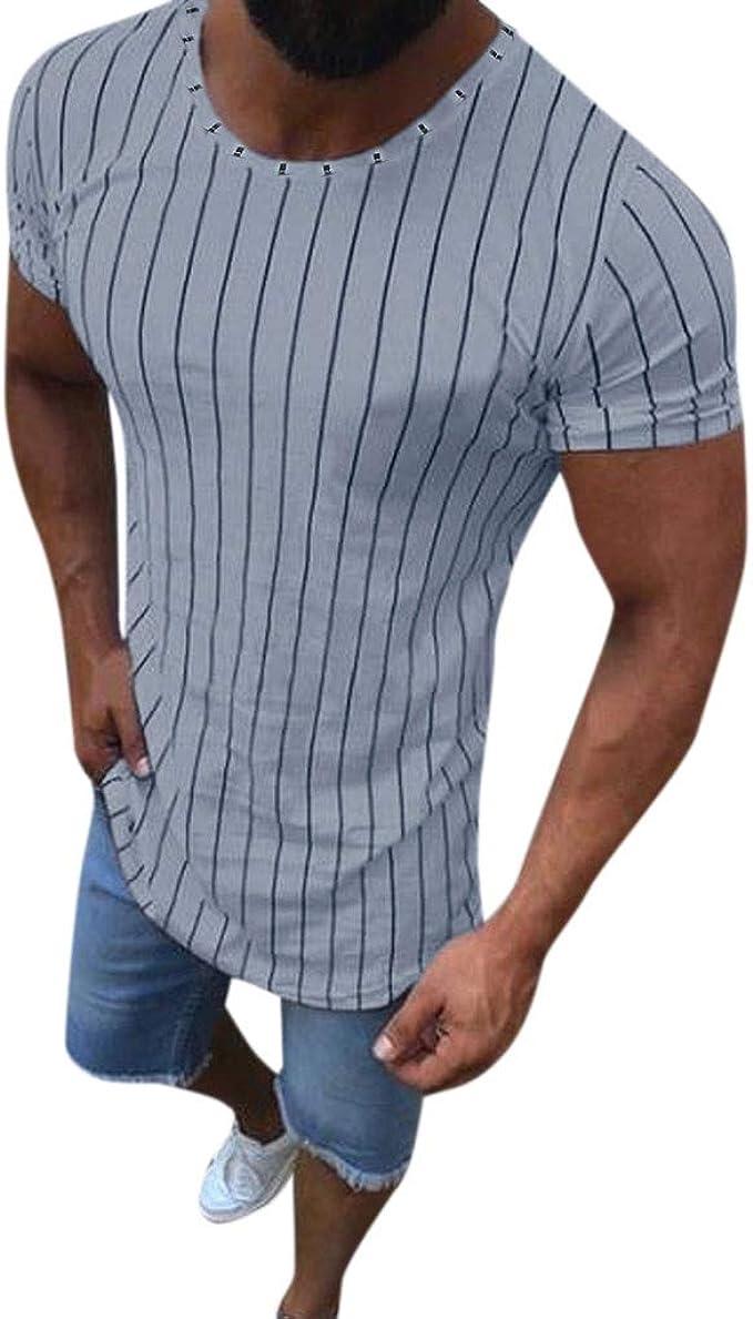 Camisa Slim fit de Moda Rebajas Yvelands Hombres Verano Musculoso Estampado a Rayas Manga Corta O-Cuello Camiseta Tops: Amazon.es: Ropa y accesorios