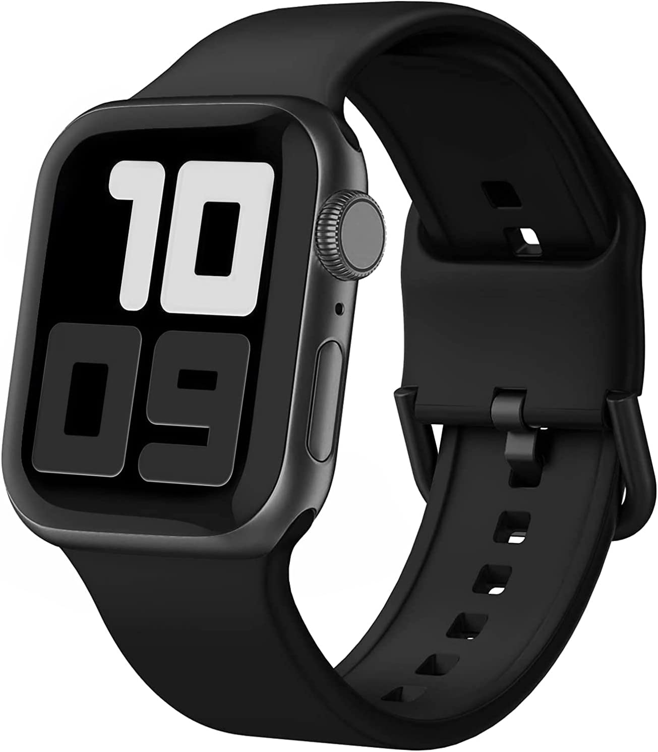 Blduzn Compatible with Apple Watch Bands 38mm 40mm, Soft Silicone Sport Wristbands Replacement Strap with Classic Clasp Compatible with iWatch Series SE 6 5 4 3 2 1 for Women Men, Black