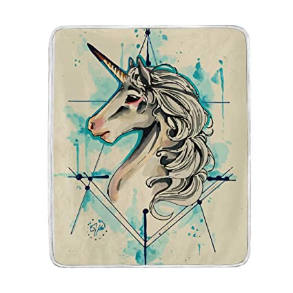 Amazon.com Painted Vintage Unicorn Throw Blanket for Bed