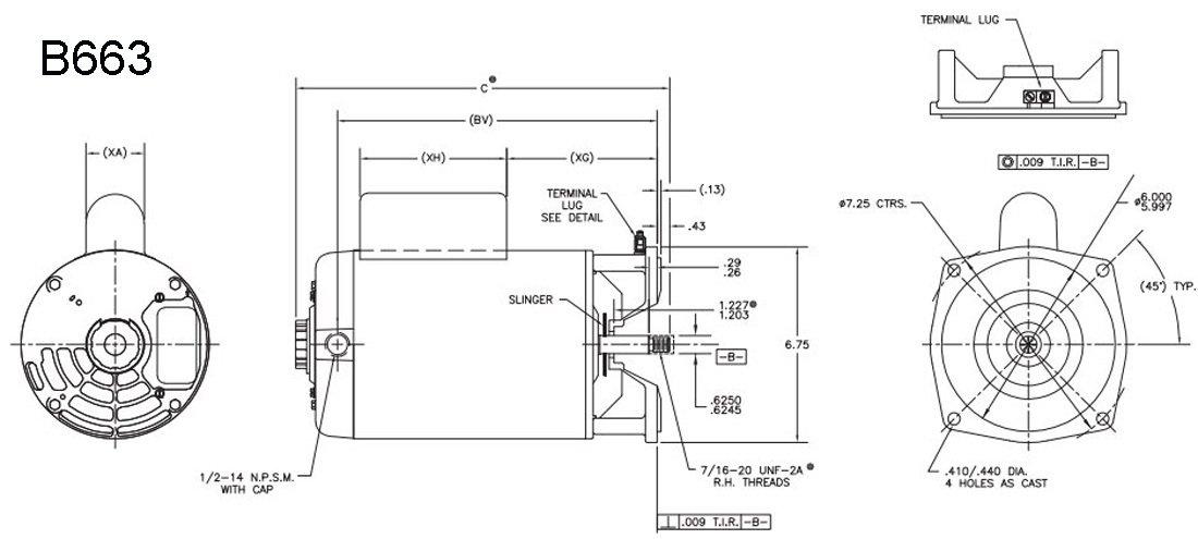 3/4hp 3450 RPM 115/230V 56Y Arneson Vertical Pool Cleaner Motor Century # B663