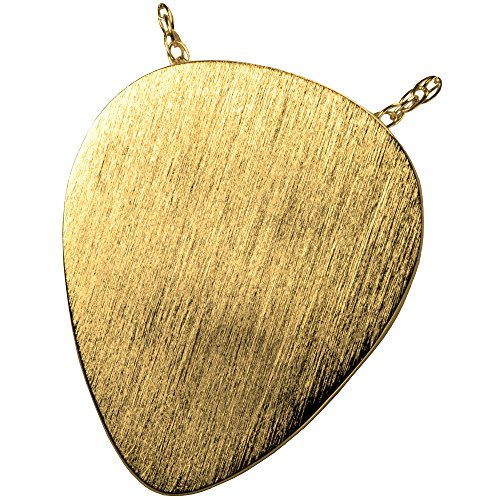 Cremation Memorial Jewelry: Gold Plated Guitar Pick + Text (Guitar Pick Engraving)