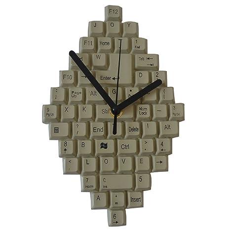 Giftgarden Reloj de Moda Decoración Moderna Diseño de Teclado Color Gris.