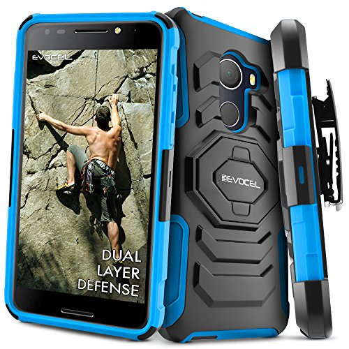 T-Mobile REVVL Case, Evocel [New Generation] Rugged Holster Dual Layer Case [Kickstand][Belt Swivel Clip] For Alcatel Walters / T-Mobile REVVL (5049W), Blue (EVO-ALWALTERS-XX02)