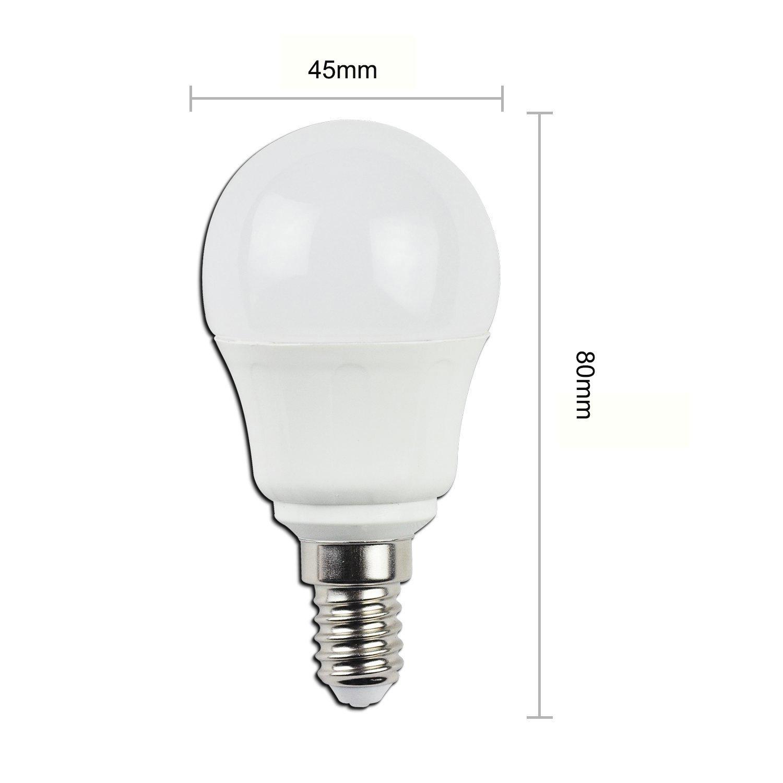 KHEBANG Bombillas LED E14 G45 7W Bombillas esfericas,Equivalente 60W,Luz Amarillo Cálida 3000K,Pack de 5 Unidades: Amazon.es: Iluminación