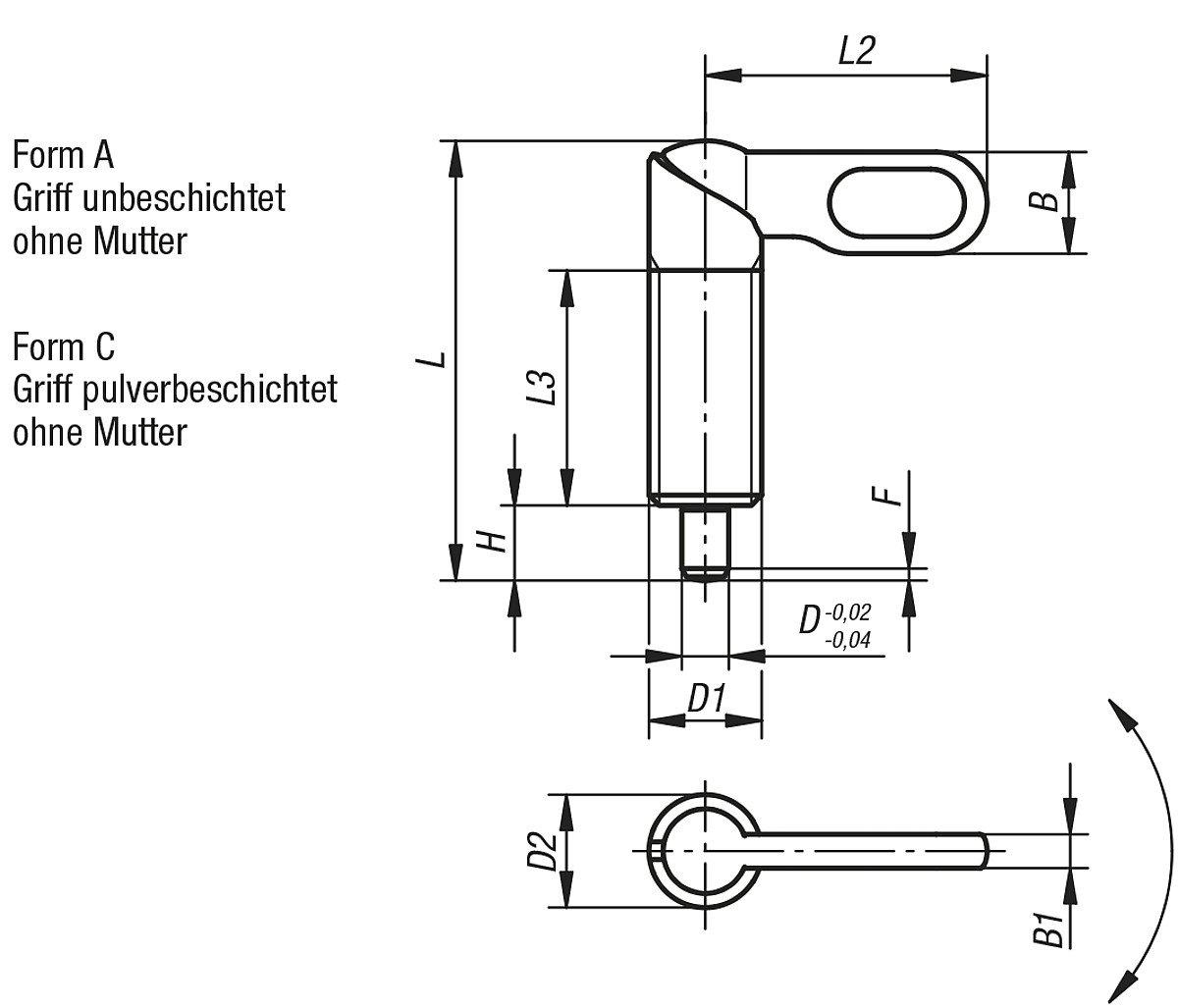 k0348.0412201 A Steel Diameter 12/mm Pack of 1 Tilt Locking Bolts M20/Form