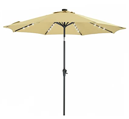 Patio Watcher 9 FT Patio LED Umbrella Solar Powered Outdoor Umbrella, 40 LED  With 2