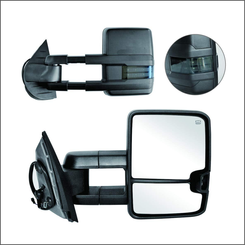 Perfit Zone Power Heated Smoke Lens Signal Tow Towing Telescoping Extendable Foldable Side View Dual Glass Mirrors Pair Set Fits 2007-2014 Silverado Suburban Sierra Yukon 1500 2500 3500 Pickup Truck