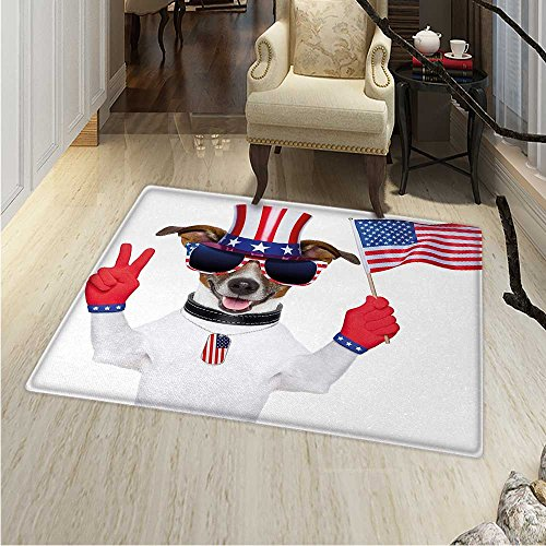 th July Small Rug Carpet Funny Pet Dog an Uncle Sam Hat Holding a Peace Sign an American Flag Door mat Indoors Bathroom Mats Non Slip 2'x3' Multicolor