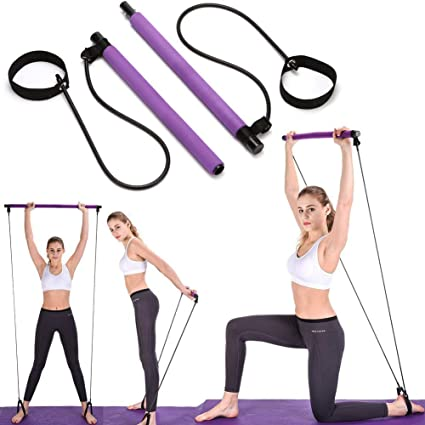 Amazon Com Dasan Pilates Exercise Resistance Band Yoga Pilates Bar Reformer Kit Portable Pilates Stick Fitness Bar Home Gym Pilates With Foot Loop For Total Body Workout For Indoor Yoga Body Shape