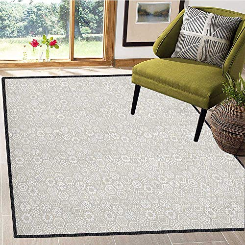 - Winter Modern Geometric Area Rug,Stylized Flakes with Hexagonal Comb Pattern Mosaic Tile Style New Year Celebration Multicolor & Anti-Skid Beige White 67