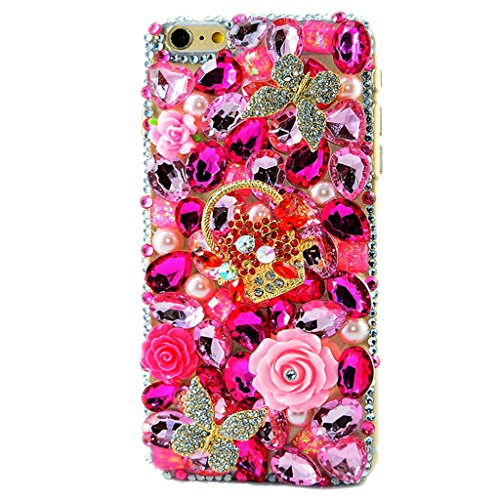 STENES iPod Touch (6th Generation) Case - Luxurious Crystal 3D Handmade Sparkle Diamond Rhinestone Clear Cover With Retro Bowknot Anti Dust Plug - Butterfly Rose Baskets Flowers/Hot Pink