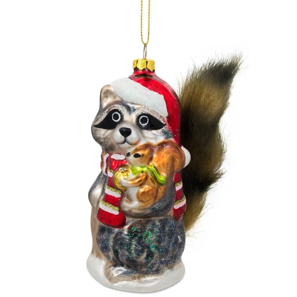 4.75'' Raccoon Holding Squirrel Glass Christmas Ornament