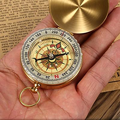 1 Pc Mini Military Compass Keychain Gold Retro Fluorescence Wild Survival Navigation Emergency Life Tactical Pre-eminent Popular Outdoor Hunting Waterproof Whistle Backpack Geometry Map Guide Kit