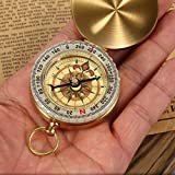 1 Pc/Set Mini Military Compass Keychain Gold Retro Fluorescence Wild Survival Navigation Emergency Life Tactical Pre-Eminent Popular Outdoor Hunting Waterproof Whistle Backpack Geometry Map Guide Kit