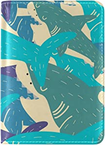 Fashionable Cartoon Shark Custom Passport Covers Holder Leather Case Travel Protector