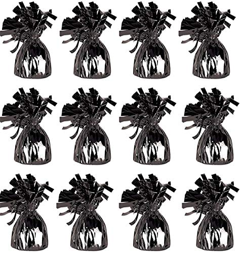 Balloons And Weights (Black Metallic Wrapped Balloon Weights for Helium Balloons and Birthday Party Decoration, Pack Of 12 ...)