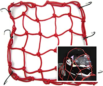 Moyishi 15 x 15 Cargo Net for Motorcycle Elasticated Bungee Cord Cargo Net 6 Hook Luggage Mesh Bungee Net Black 40x40cm