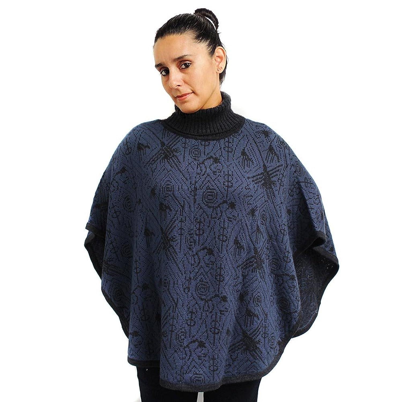 PONCHO Shawl Wrap Cape Ruana Turtle Neck made in PERU NAZCA Large