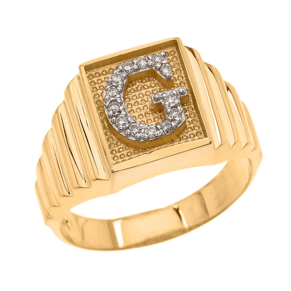 Men's 10k Yellow Gold Layered Band Square Face Diamond Initial Letter G Ring (Size 9.25)