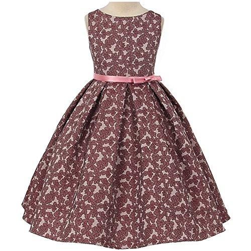 Pleated Jacquard Skirt - Big Girls Beautiful Floral Jacquard Pleated Skirt Dress Mauve Rose - Size 12