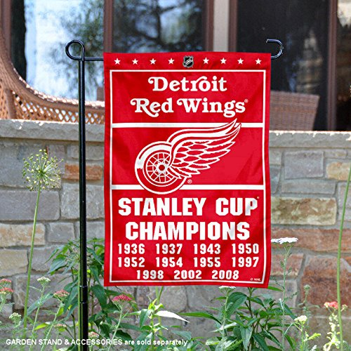 Cup Stanley Time 11 - Detroit Red Wings 11 Time Stanley Cup Champions Double Sided Garden Flag