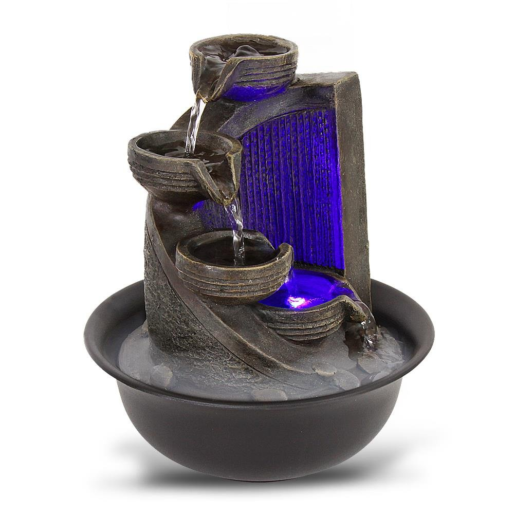 SereneLife 4-Tier Desktop Electric Water Fountain Decor w/LED - Indoor Outdoor Portable Tabletop Decorative Zen Meditation Waterfall Kit Includes Submersible Pump & 12V Power Adapter Pyle USA SLTWF69LED