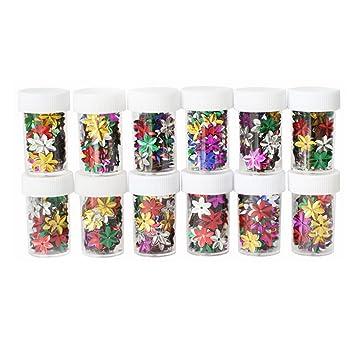rosenice 12 botellas Craft con purpurina lentejuelas brillante colorido Loose lentejuelas Spangles DIY para niños para