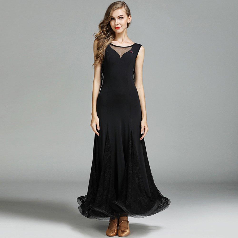 現代の女性の大きな振り子ホットアイスシルクモダンダンスドレスタンゴとワルツダンスドレスダンスコンペティションスカートレースなし袖ダンスコスチューム B07HHQKVL9 XL|Black Black XL