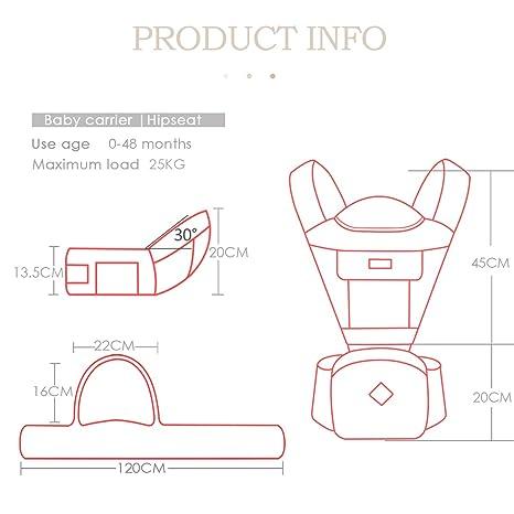 SONARIN Multifuncional Hipseat Baby Carrier,Correas transpirables,Ergonómico, Almacenamiento de gran capacidad,11 posiciones de transporte,Adaptado al ...