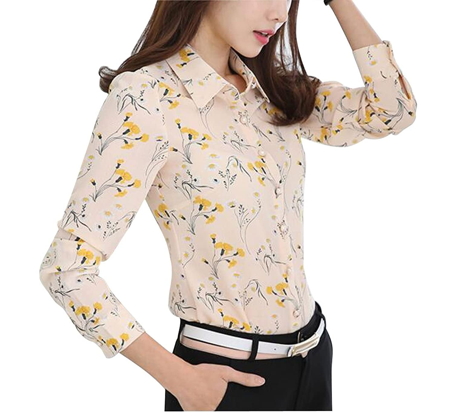24344caa79 95%Ployester/5%Spandex Full Natural Beautiful Scenery Stand Up Collar and  No Pocket Occasion:Casual,Work,Formal,Business.Printed Button Add More  Elegant