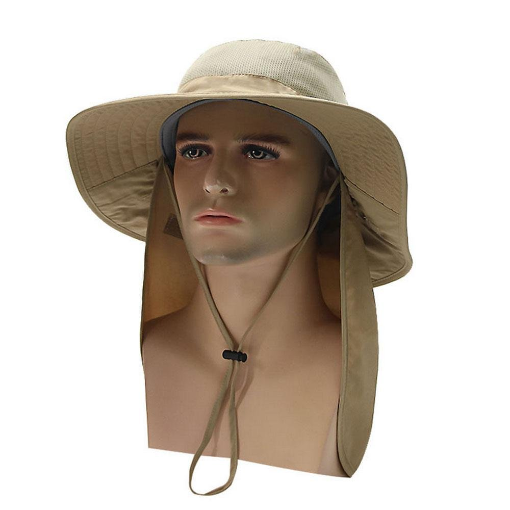 Pawaca Wide Brim Sun Hat with Long Neck Flap, Sun Protection Ultralight Fishing Sun Hat Boonie Hat Breathable Mesh for Men Women Fishing Cycling Hiking Gardening Camping Hunting Backpacking, Dark Grey