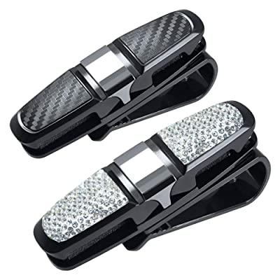 FineGood 2 Pack Glasses Holders for Car Sun Visor, Glasses Holder Clip with Rhinestones Crystal Fashion Biling Sunglass Eyeglass Mount Hanger-Sliver & Balck: Automotive