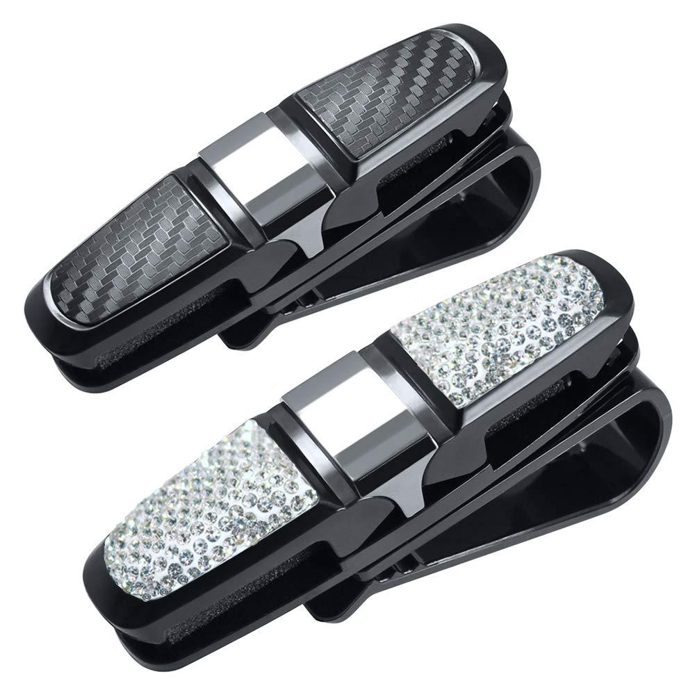 FineGood 2 Pack Glasses Holders for Car Sun Visor Glasses Holder Clip with Rhinestones Crystal Fashion Biling Sunglass Eyeglass Mount Hanger-Sliver /& Balck