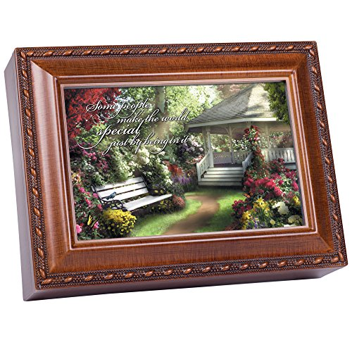Special World Woodgrain Jewelry Music Box Plays Wonderful World