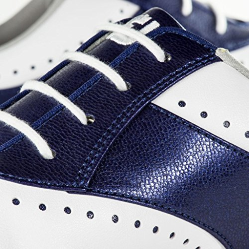 FootJoy Women's eMerge Spiked Golf Shoes, Close-out (7 B(M) US, White/Navy Linen 93900) by FootJoy (Image #7)