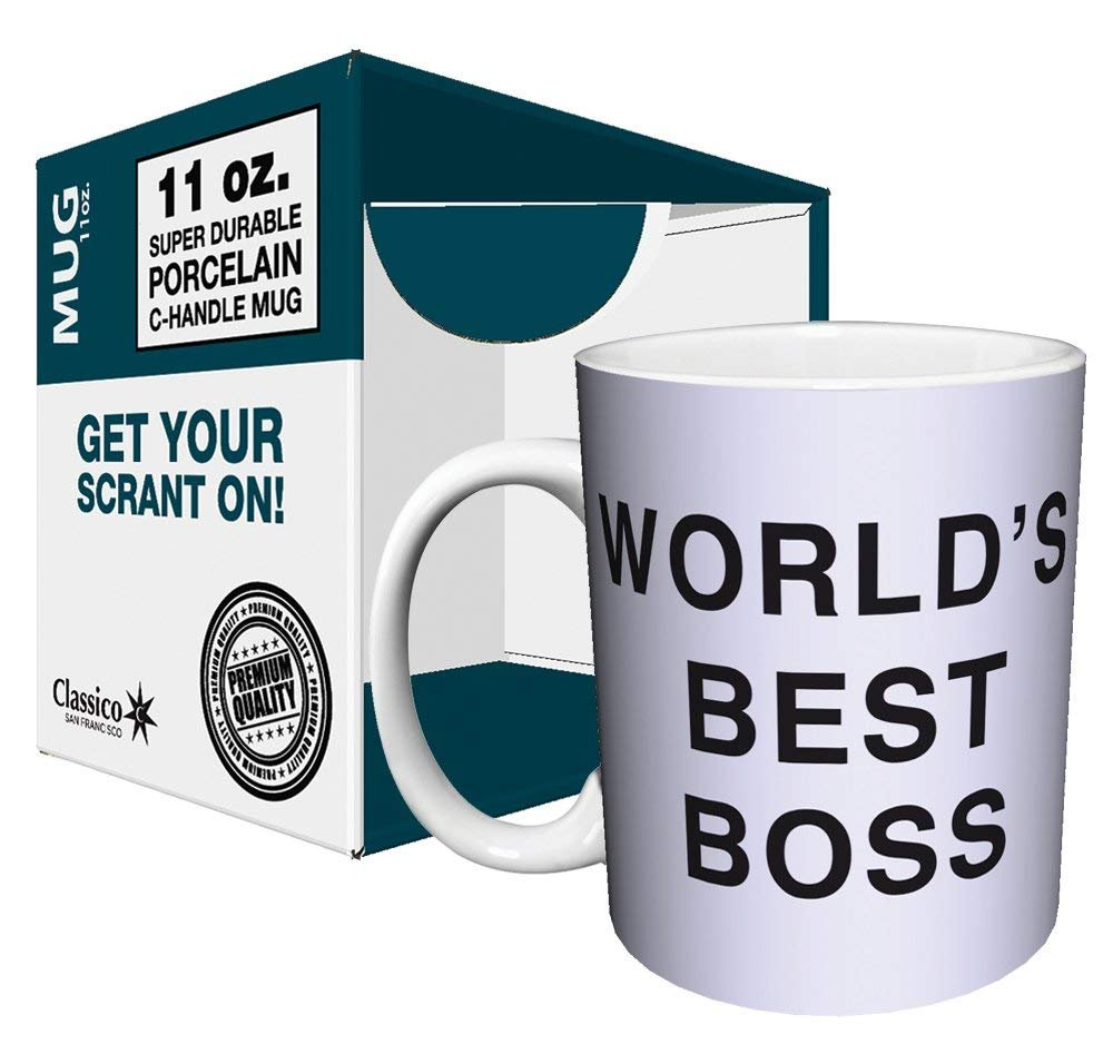 Dunder Mifflin (The Office) World's Best Boss TV Television Show Ceramic Gift Coffee (Tea, Cocoa) 11 OZ Mug, By CulturenikOfficially Licensed from NBC/Universal TV. by Culturenik (Image #2)