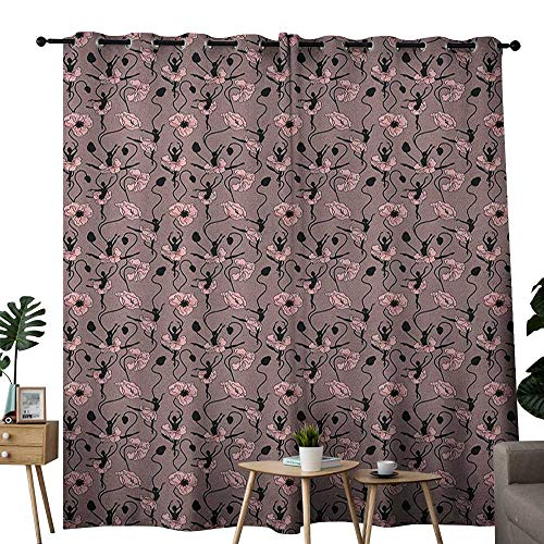 NUOMANAN Blackout Lined Curtains Abstract,Blooming Flowers and Ballerina Silhouettes Dance Figures with Petals, Rose Black Dried Rose,Thermal Insulated,Grommet Curtain Panel Set of 2 52