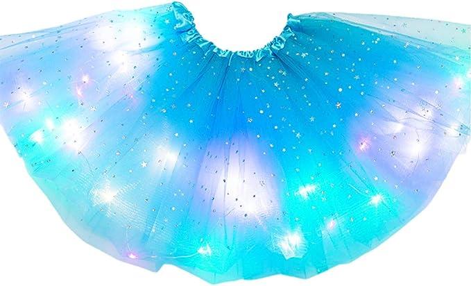 Kinder M/ädchen LED Leuchten Glitter Star Pailletten Ballett T/üll Tutu Rock 3-12 T