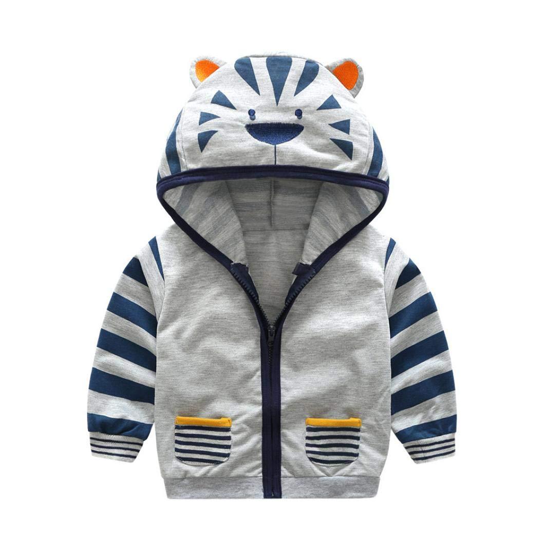 Jchen(TM) Clearance Infant Toddler Kids Baby Little Boy Girl Cartoon Tiger Fox Hooded Zipper Outerwear Coat for 0-5 Y