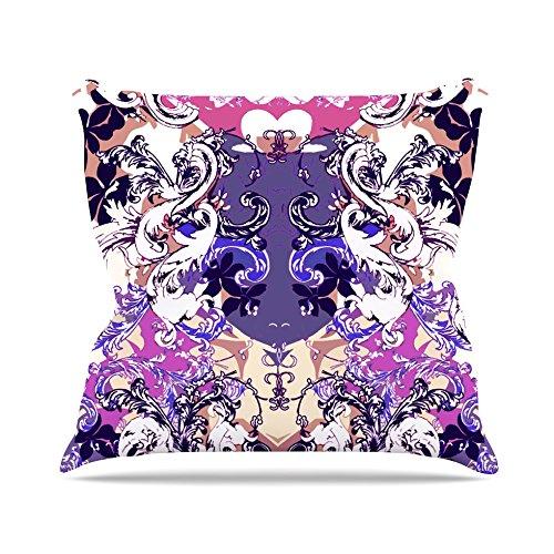 Kess InHouse Fernanda Sternieri Barroque in Love Throw Pillow White Pink 16 by 16