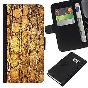 KingStore / Leather Etui en cuir / Samsung Galaxy S6 EDGE / Patrón Oro de la textura del material de las rocas de piedra