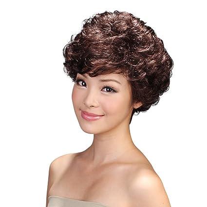 Fluffy oblicua flequillo pelo corto peluca onda rizos damas África sintético resistente al calor fibra peluca