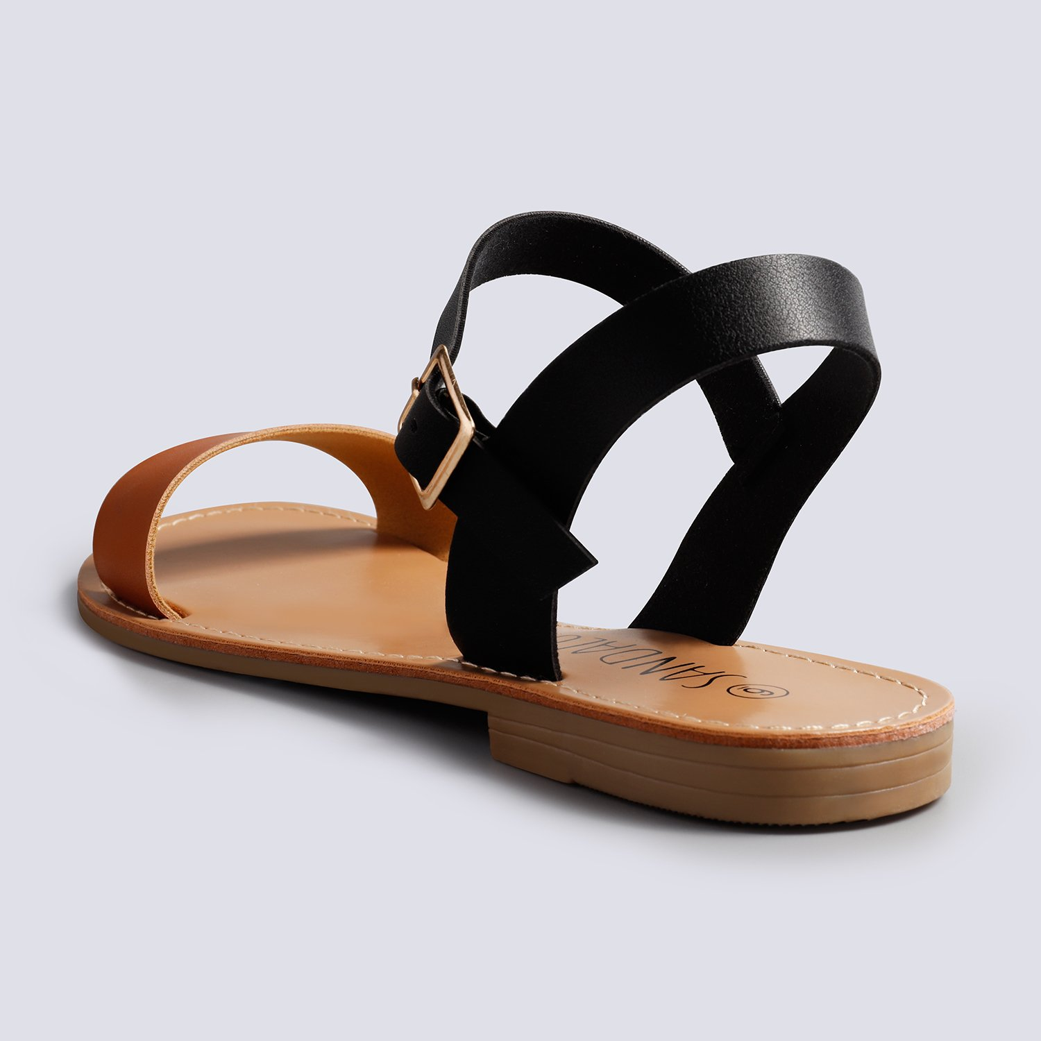 d63b4f495 SANDALUP Women s Soft Faux Leather Open Toe and Ankle Strap Buckle Flat  Sandals