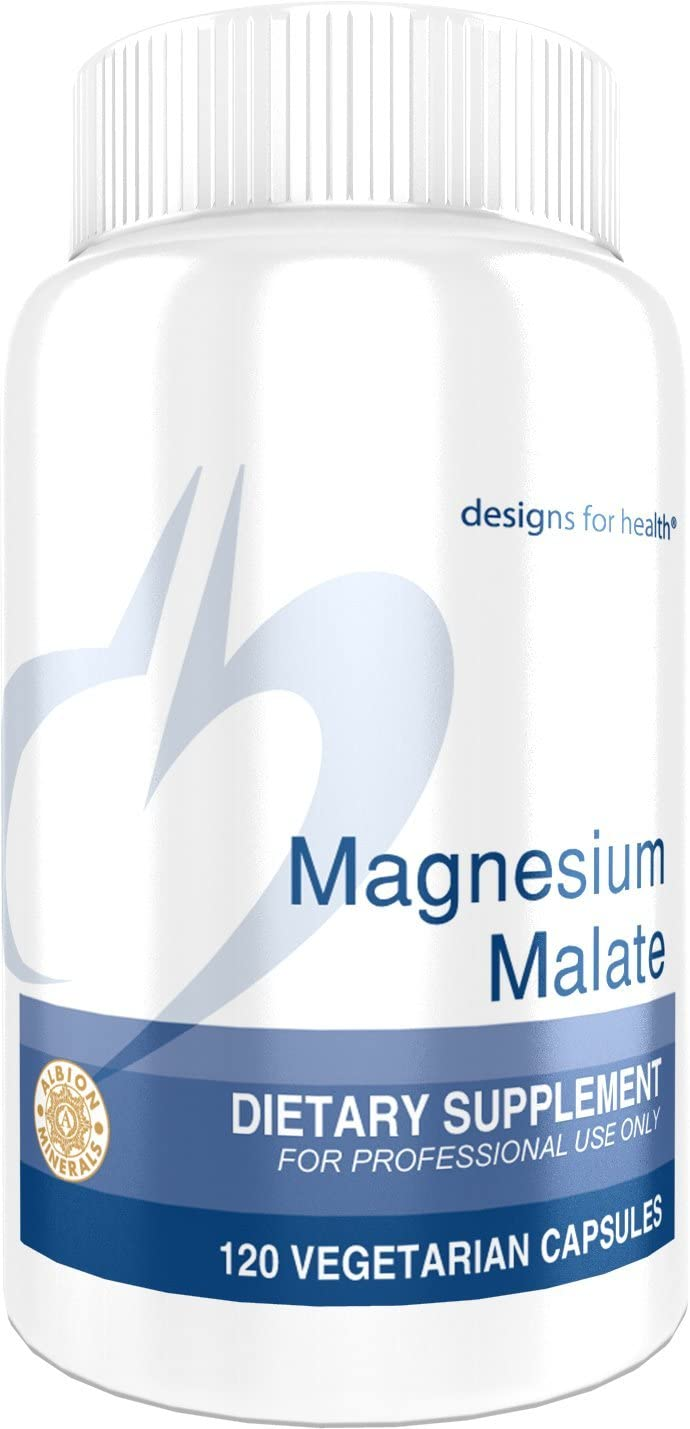 Designs for Health Magnesium Malate - 360mg Magnesium for Energy + Muscle Support (120 Capsules)