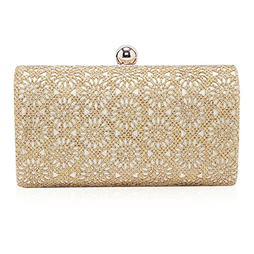 Flowers Gold Bag - Damara Womens Shining Flower Hollow Out Evening Bag Clutch Handbag,Gold