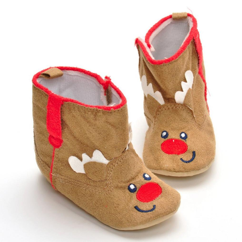 Voberry Christmas Toddler Infant Elk//Cartoon Snow Boots Baby Soft Sole Boots Shoes