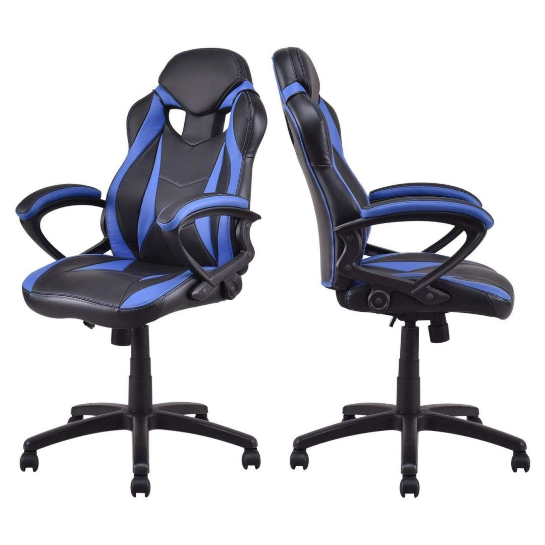 Modern Style High Back Gaming Chairs Comfortable 360-Degree Swivel Design Desk Task PU Leather Upholstery Thick Padded Seat Posture Support Home Office Furniture - Set of 2 Blue/Black #2123 by KLS14